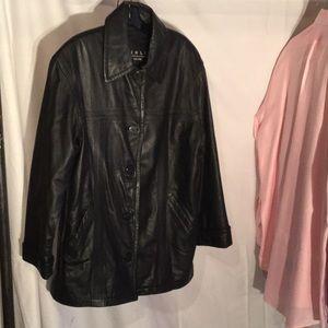 Vintage black leather 3/4 length lined coat worn 1